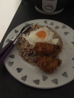 Cornbeef Fried Rice with Failed egg on top..